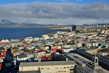 Blick von der Hallgrímskirkja über Reykjavik