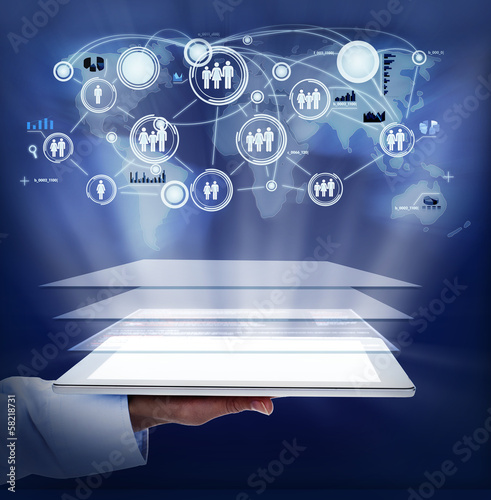 Woman hand with tablet computer.