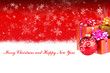 Merry Christmas and Happy New Year red background