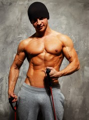 Handsome man with muscular body