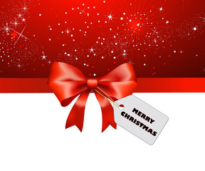 Rote Schleife Merry Christmas schwarz mit rotem Hintergrund
