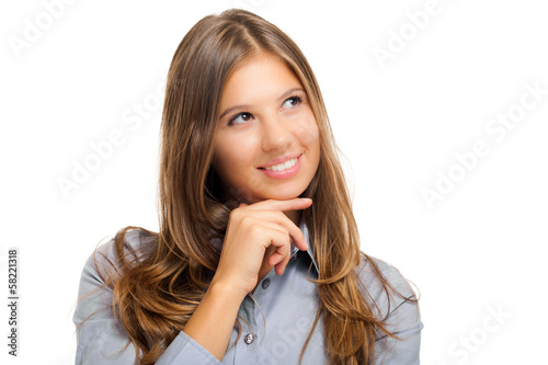 Smiling businesswoman having an idea