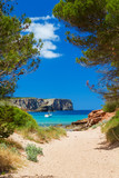 Fototapety View on Cala Algaiarens from sand pathway to the beach