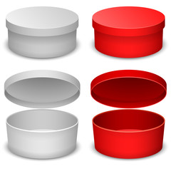 Round box vector template isolated on white