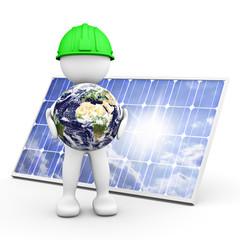 omino bianco con pannello solare e terra