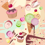 Mixed colorful sweet background