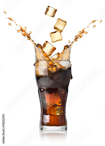 Cola with ice cubes - 58222395