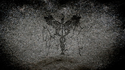 Medical caduceus symbol on a stone