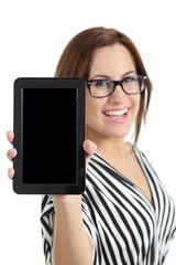Beautiful secretary showing a blank tablet pc screen