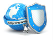 Internet security. Earth, browser address line and shield.