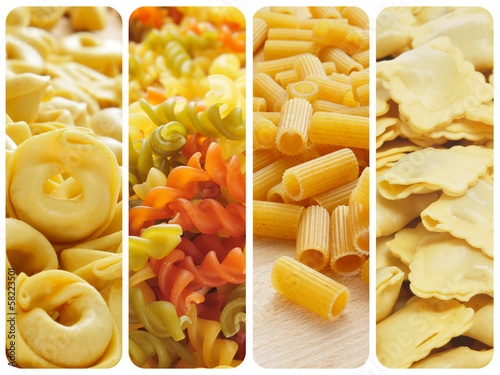 uncooked pasta collage
