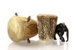 African drum and carved elefant