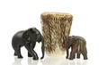 carved elefants with African drum