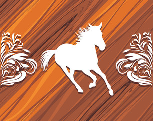 Silhouette of a hurrying horse on the wooden background