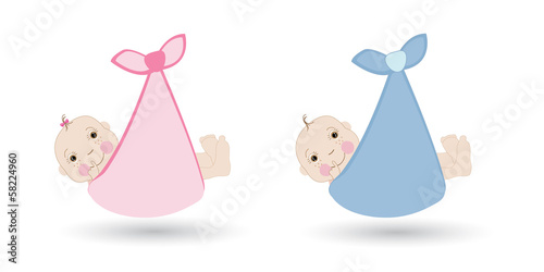 Newborn baby girl and boy vector