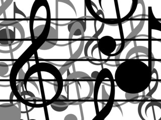 Treble clefs, notes and lines on a white background