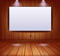 Realistic gallery interior on wooden wall background