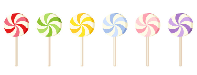 Six colorful lollipops. Vector illustration.