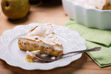 Apple and pears  pie  with meringue