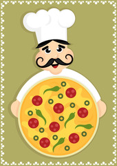 cartoon chef holding pizza plate