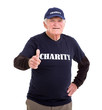 elderly charity volunteer giving thumb up