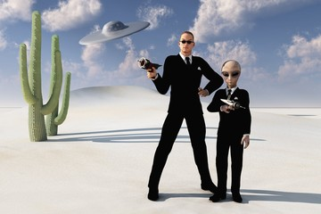 Men in black desert and flying saucer