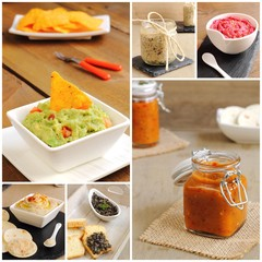 Collage of sauces, pates and dips