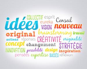 nuage de mots : idées et créativité