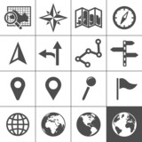 Cartography and topography vector icons poster