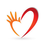 Help hands heart logo vector
