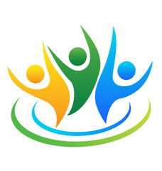 Logo of optimistic people icon vector