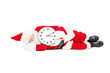 Santa Claus sleeping with a clock and running late