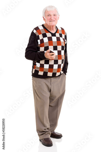 senior man holding cell phone