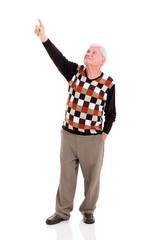 elderly man pointing up