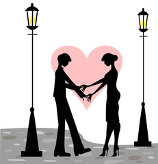 coppia di innamorati  in strada