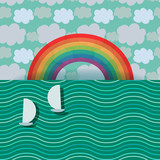 Rainbow and yachts card template