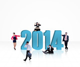 Business team with the new year 2014 - isolated