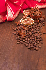 coffee beans, cinnamon and star anise