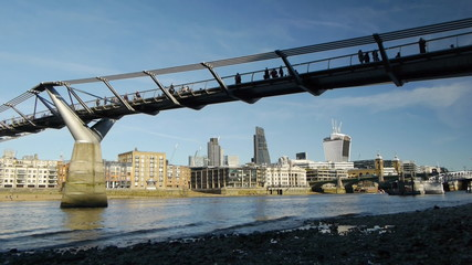 Tate Modern bridge and City of London.