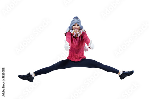 Pretty girl jumping with showing thumbs up