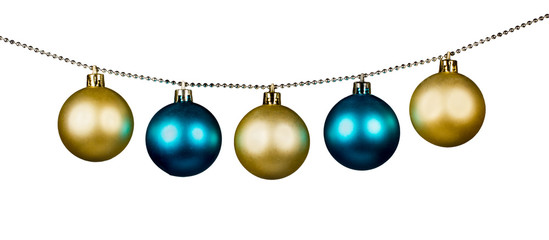 Golden and blue Christmas balls