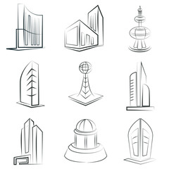 sketched building set