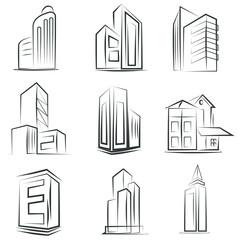sketched building set