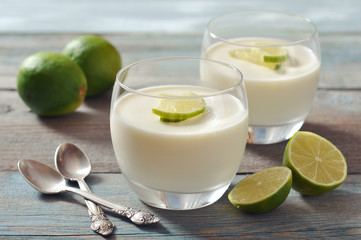 Panna cotta with fresh lime
