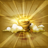 Stack of coins, old style background