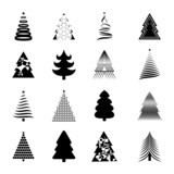 Christmas Tree Icons Set - Isolated On Background