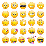 Smile Icons Set - Isolated On White Background