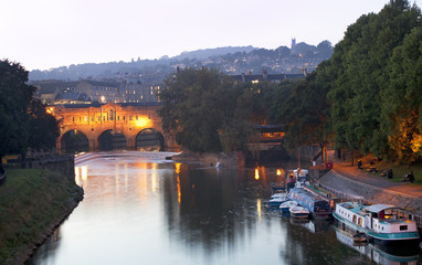 Pulteney Bridge and the River Avon in Bath, England, UK