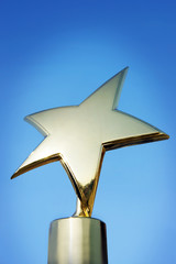 Star award against blue background