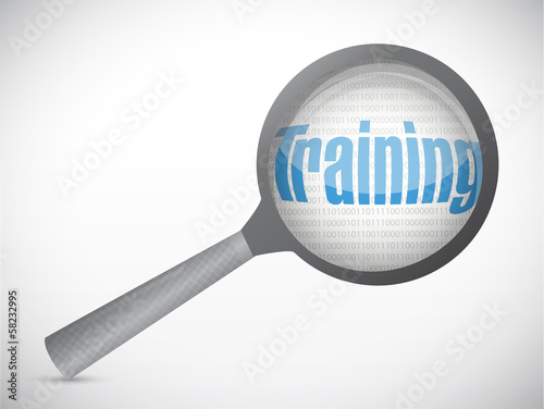 training under magnify search illustration design